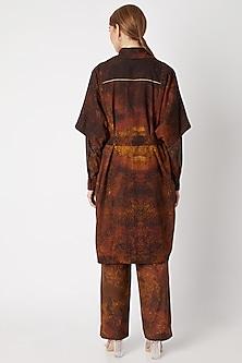 Brown Printed Coat With Belt by Saaksha & Kinni