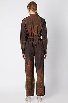 Brown Digital Printed Trousers by Saaksha & Kinni