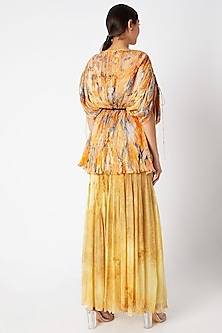 Yellow Pleated & Printed Pants by Saaksha & Kinni
