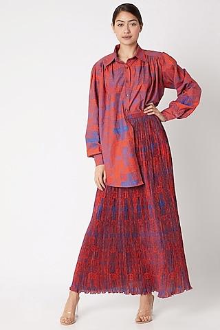 Red Skirt With Abstract Print by Saaksha & Kinni