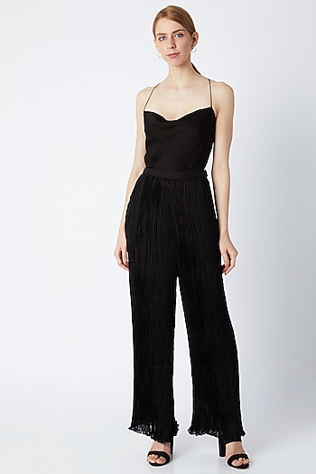 Black Micro Pleated Palazzo Pants by Saaksha & Kinni