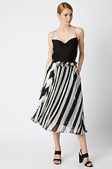 Black Micro Pleated Asymmetric Skirt by Saaksha & Kinni