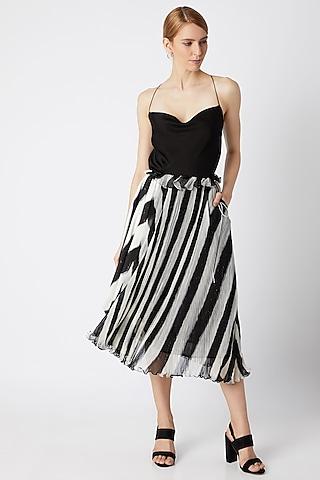 Black Micro Pleated Asymmetric Skirt by Saaksha & Kinni