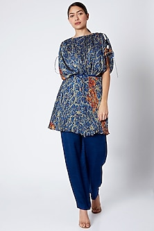 Cobalt Blue Digital Printed Blouse by Saaksha & Kinni