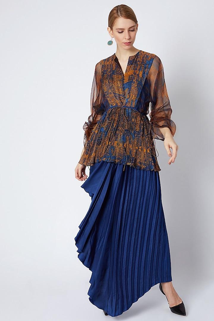 Cobalt Blue Hand Pleated & Draped Skirt by Saaksha & Kinni