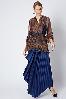 Cobalt Blue Hand Pleated & Draped Skirt by Saaksha & Kinni