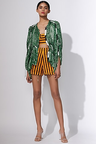 Mustard & Black Striped Shorts by Saaksha & Kinni