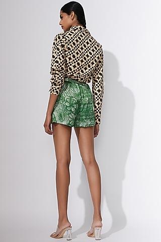 Green Floral Printed Shorts by Saaksha & Kinni