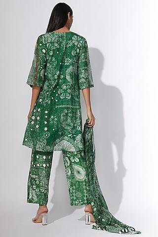 Green Floral Printed Trousers by Saaksha & Kinni