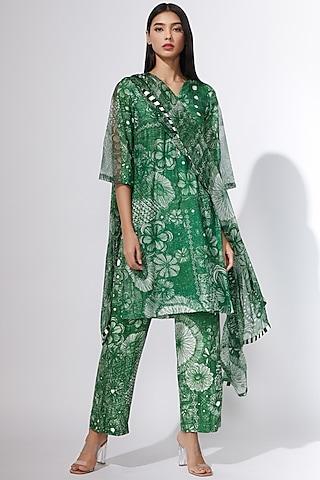Green Floral Printed Kurta by Saaksha & Kinni