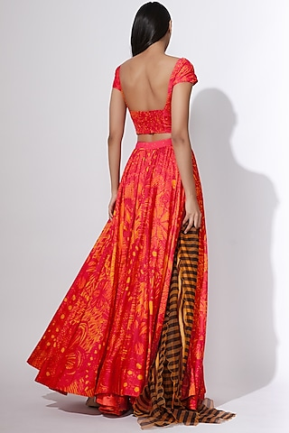 Pink & Yellow Embroidered & Printed Blouse by Saaksha & Kinni