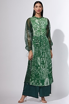 Green Printed Kurta With Inner & Belt by Saaksha & Kinni