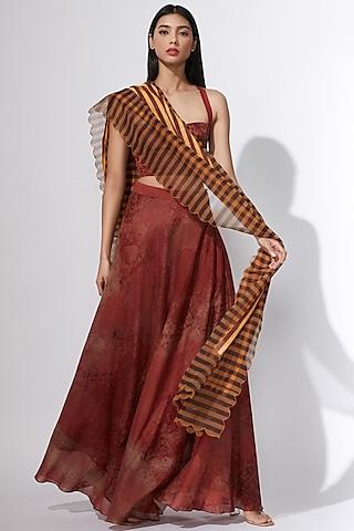 Maroon Abstract Printed Lehenga by Saaksha & Kinni