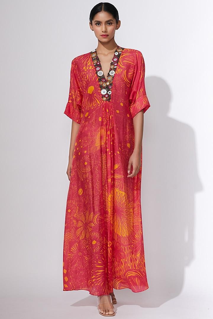 Pink & Yellow Printed Kaftan by Saaksha & Kinni