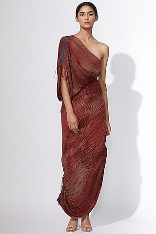 Maroon Printed Saree Dress by Saaksha & Kinni