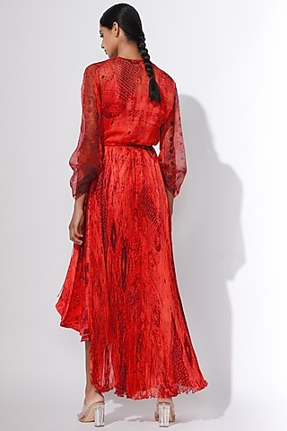 Coral Printed Dress by Saaksha & Kinni