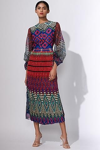 Multicolored Printed Dress With Inner by Saaksha & Kinni