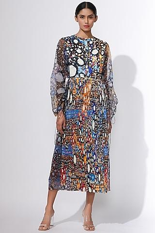 Blue Mirror Printed Dress With Inner by Saaksha & Kinni