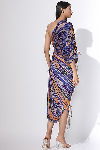 Multi Colored Micro Pleated Saree Dress by Saaksha & Kinni