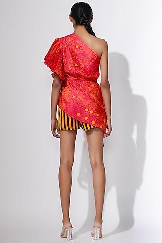Mustard Printed High Waist Shorts by Saaksha & Kinni