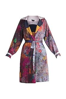 Grey Digital Printed Reversible Coat With Belt by Saaksha & Kinni