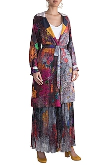 Grey Digital Printed Reversible Coat With Belt by Saaksha & Kinni