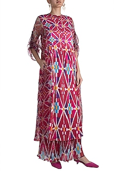 Blush Pink Digital Printed Kurta Dress With Slip by Saaksha & Kinni