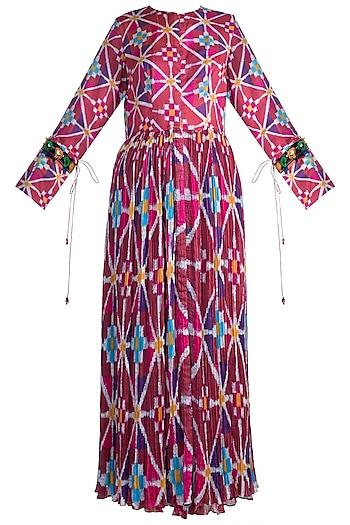 Blush Pink Printed & Embroidered Kurta Dress by Saaksha & Kinni