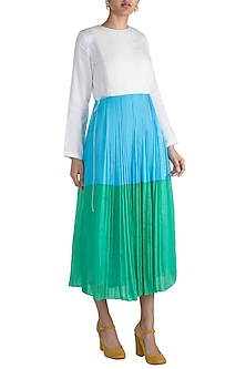 Sky Blue Pleated Dress by Saaksha & Kinni