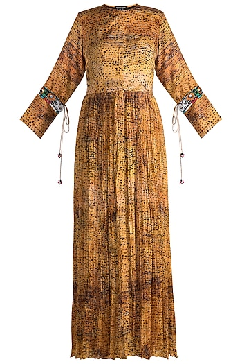 Mustard Yellow Printed & Embroidered Kurta Dress by Saaksha & Kinni