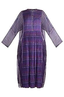 Purple Printed Pleated Kurta With Slip by Saaksha & Kinni