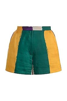 Emerald Green Digital Printed Shorts by Saaksha & Kinni