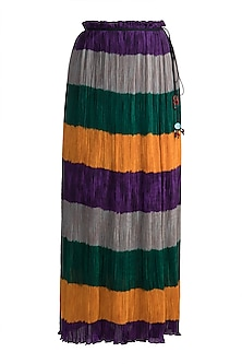 Emerald Green Stripe Printed Skirt by Saaksha & Kinni