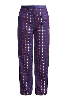 Purple Digital Printed Trouser Pants by Saaksha & Kinni