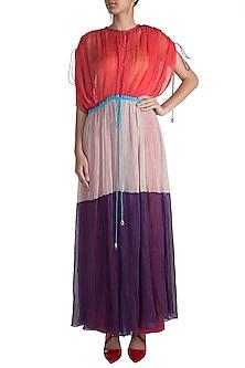Purple Pleated Kaftan by Saaksha & Kinni