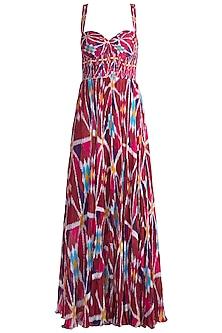 Blush Pink Printed Pleated Maxi Dress by Saaksha & Kinni