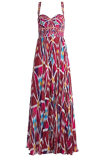 Blush Pink Printed Pleated Maxi Dress