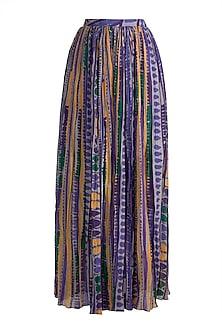 Purple Printed & Pleated Palazzo Pants by Saaksha & Kinni