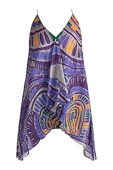 Purple Digital Printed Pleated Tunic by Saaksha & Kinni