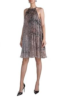 Grey Printed Halter Neck Dress by Saaksha & Kinni