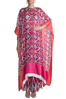 Blush Pink Ikat Printed Kaftan by Saaksha & Kinni