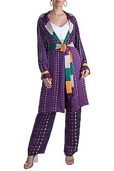 Purple Stripe Printed Reversible Coat With Belt by Saaksha & Kinni