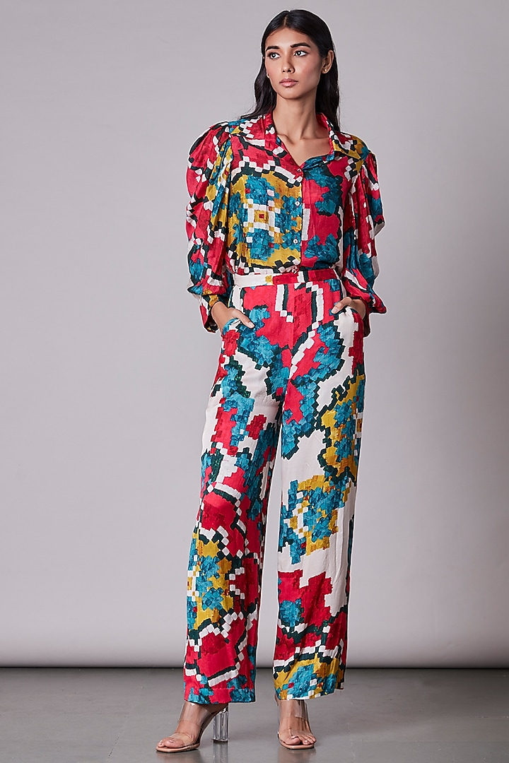 Multi-Colored Ikat Printed Shirt by Saaksha & Kinni