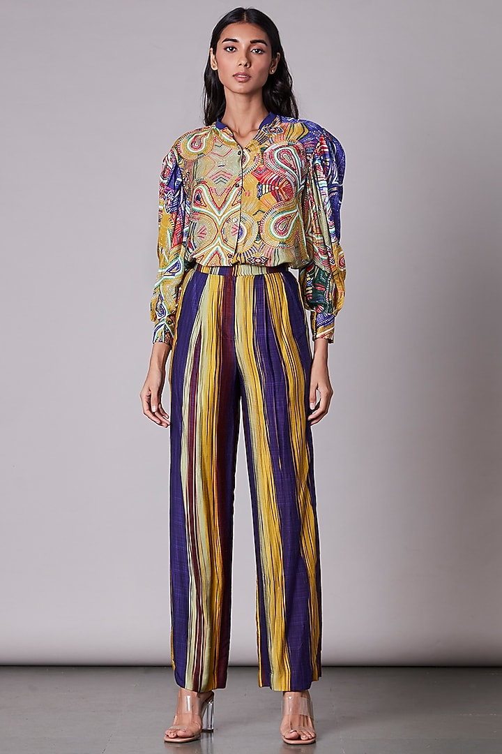 Multi-Colored Satin Printed Shirt by Saaksha & Kinni