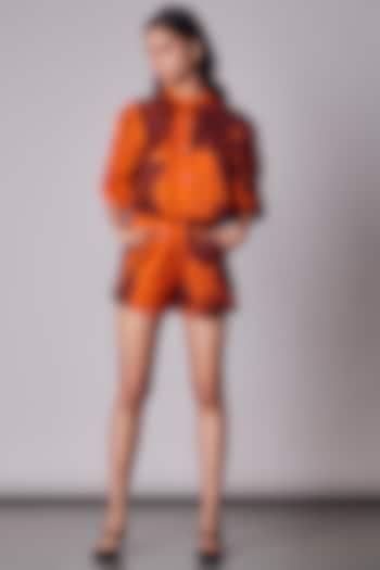 Orange Satin Printed Shirt by Saaksha & Kinni