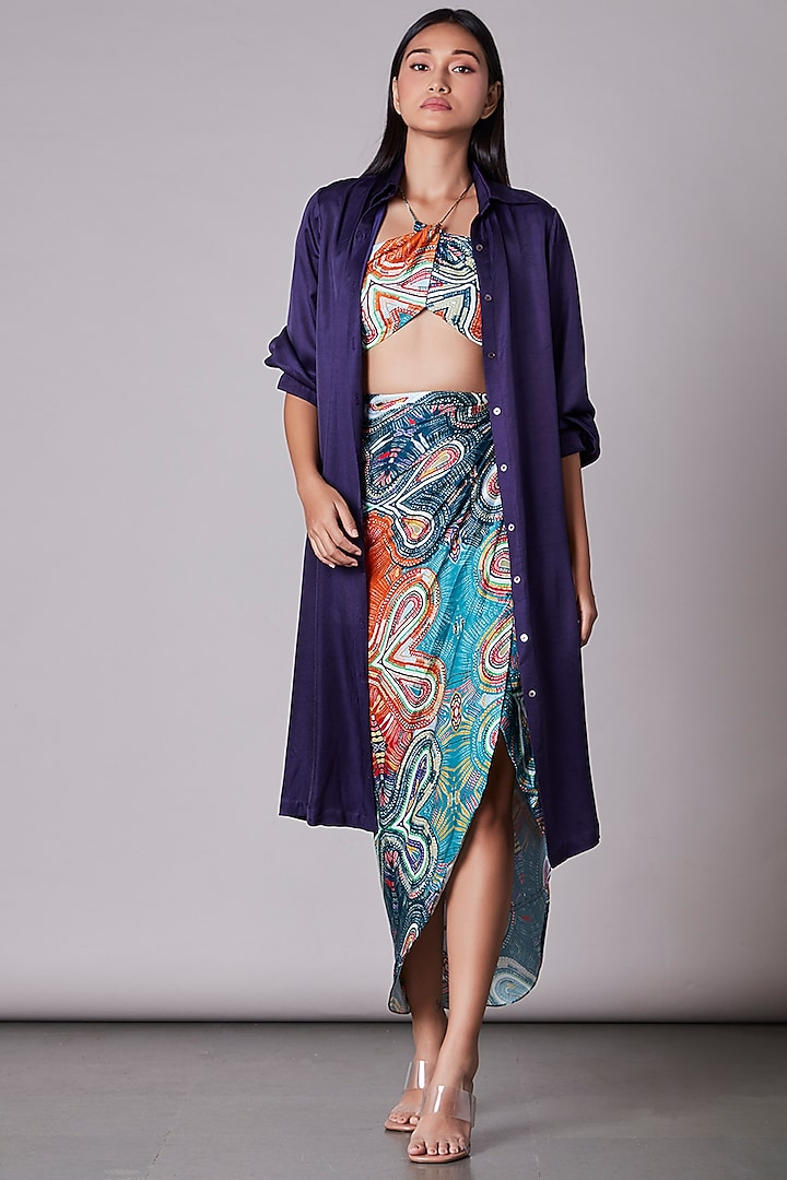 Purple Satin Oversized Shirt by Saaksha & Kinni