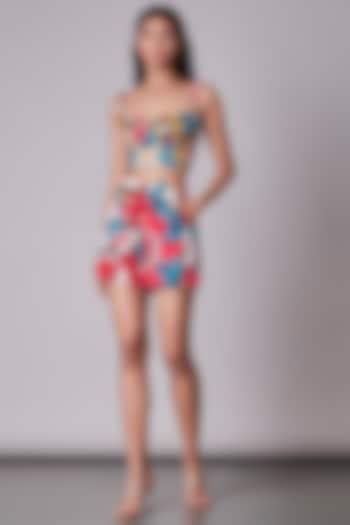 Multi-Colored Ikat Printed Bustier by Saaksha & Kinni
