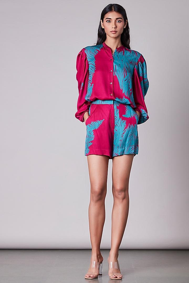 Pink & Turquoise Satin Shirt by Saaksha & Kinni