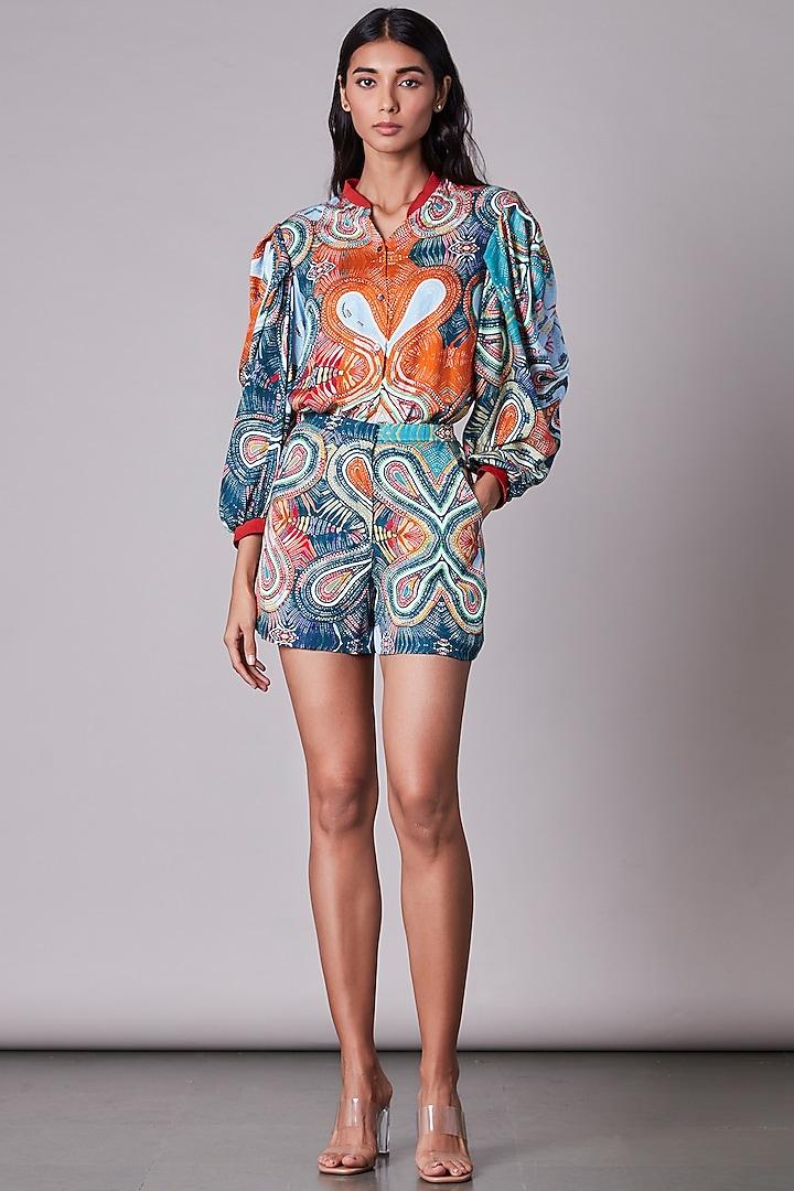 Multi-Colored Satin Shirt With Print by Saaksha & Kinni