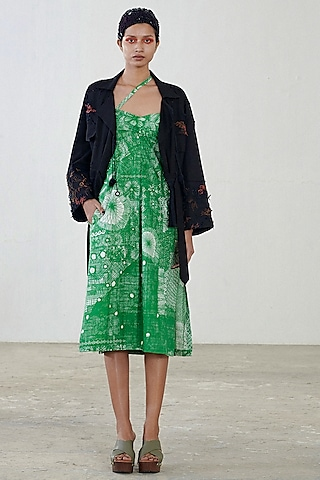 Green Printed Dress With Jacket by Saaksha & Kinni